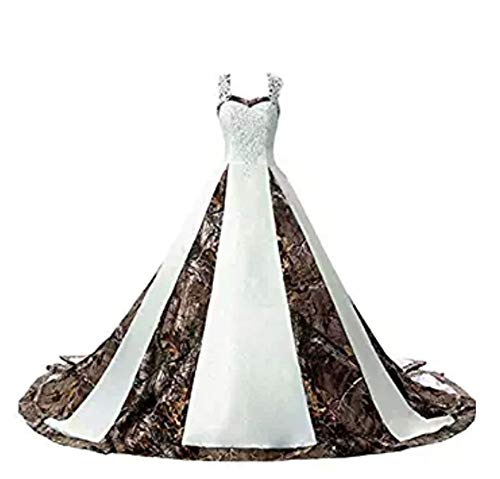 ANGELA Women's Straps Camouflage Wedding Dresses for Bride Appliques Long Camo Bridal Gowns