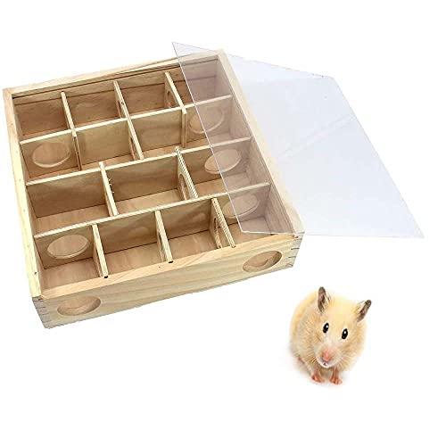 KENG Wooden Hamster Maze - Laberinto de Juguete para Hámster Pequeño Túnel para Mascotas Laberinto de Madera con Cubierta Transparente Actividad para Mascotas Juguete Deportivo para Hámster