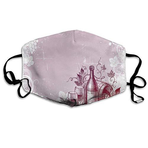 Bequeme Winddichte Maske, Grunge Abstrakter Rahmen Weintraube Blätter Land Getränke Essen Picknick-Konzept