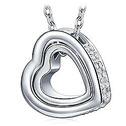 Kami Idea Halskette Geschenke für Damen, Silber Farbe Herz Anhänger, Kristalle von Swarovski, Geschenk Verpackung