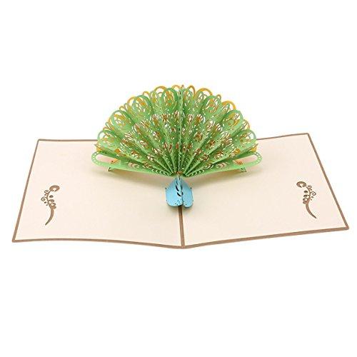 EJY Popup 3D Carte de voeux,Romantique Carte de voeux de Bricolage pour Fête d'anniversaire Fête des mères Saint-Valentin Cadeau (Queue verte)