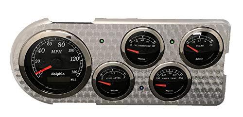 Dolphin Gauges Compatible with 1948 1950 Ford Truck 5 Gauge GPS Dash Panel Insert Engine Turned Billet Aluminum Black