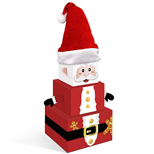 Christmas Santa Claus Gift Boxes with Hat Xmas Holiday Tower Nesting Present Boxes for Christmas Tree Home Office Table Decorations Winter Festive Birthday Supplies