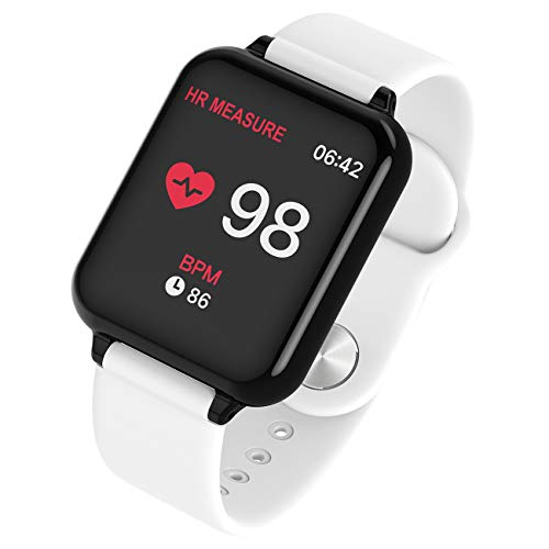 NNYCC - Reloj inteligente con monitor de frecuencia cardíaca, impermeable, con múltiples modos de deporte, monitor de sueño, monitor de calorías y podómetro, reloj para mujer y hombre, color Blanco