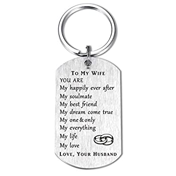 CPLJW Wife Gifts from Husband Romantic Wife Birthday Gift Best Anniversary for Wife Gifts Meaningful Keychain Gift for Wife Silver Small