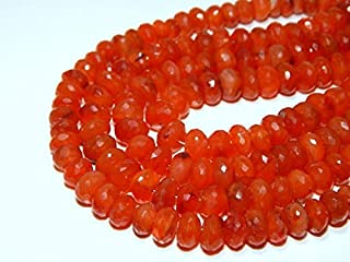 "Jewel Beads Natural Beautiful jewellery Carnelian Faceted Beads Rondell Shape 7x8.5.mm 10""InchesCode:- JBB-46451"