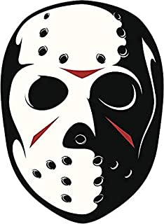 EW Designs Serial Killer Hockey MASK Black RED White Vinyl Decal Bumper Sticker Two in One Pack (4 Inches Tall)