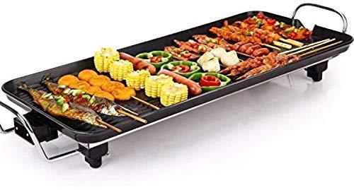 Parrilla eléctrica portátil, Parrilla eléctrica de mesa Teppanyaki, plancha antiadherente con temperatura...