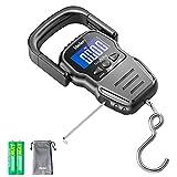 Digitale Kofferwaage,Fishing Scale,110lb / 50kg Digitale Hängewaage mit hintergrundbeleuchtetem LCD Display, Maßband und 2 AAA Batterien