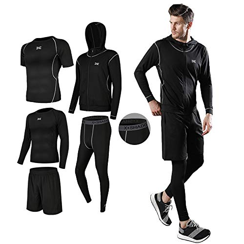 Men's Compression Wear Set, Training Wear, 5-Piece Set, Breathable, Odor Resistant, Sportswear, Running Wear, Hoodie, Long Sleeves, Short Sleeves, Half Pants, Tights, Sweat Absorbent, Quick Drying - #01-Black-5 Piece Set