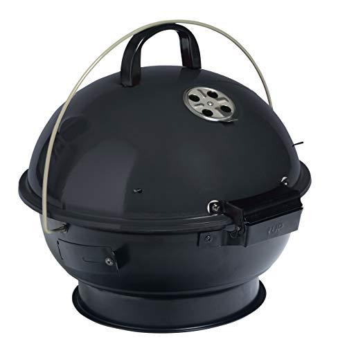 Season Kugelgrill Grill tragbar schwarz Kohlegrill Holzkohlegrill BBQ Grillrost 34cm mit Ablagegitter 4 Beine