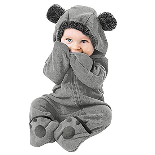 Newborn Baby Bodysuit, JPLZi Infant Pajamas Kids Hooded Romper Outerwear Toddler Jacket Cartoon Bear Snowsuit Warm Jumpsuit(B Gray,18-24 Months)