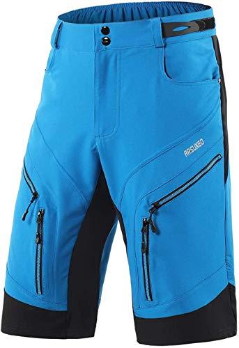 Pantalones Cortos De Montaña Ciclo Holgados De Hombres, Transpirables Sueltos, para MTB De Los Deportes Al Aire Libre (XXL,Azul Claro)