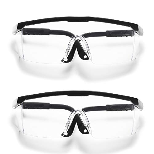 VANLINKER Safety Glasses for Work with Anti Fog Scratch Resistant for Woodworking & Weeding, Eye Protection , Adjustable, No-Slip Grips (2 Pack)