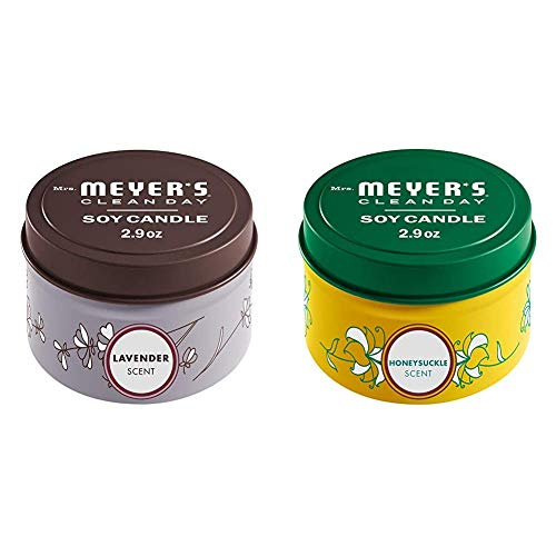 Mrs. Meyer's Clean Day Scented Soy Tin Candle Multipack with Essential Oils, Lavender and Honeysuckle Scent, 2 Count