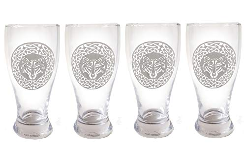 Celtic Wolf Pint Glass Set of 4 - Free Personalized Engraving, Celtic Beer Glass