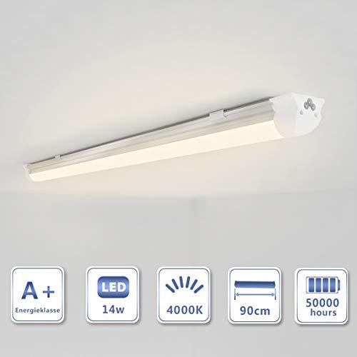 OUBO 90cm LED Leuchtstoffröhre komplett Set mit Fassung Neutralweiss 4000K 14W 1750lm Lichtleiste T8 Tube milchige Abdeckung