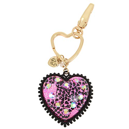 Betsey Johnson Pink Glitter Heart Charm Key Fob, 292375GLD651, Fuchsia