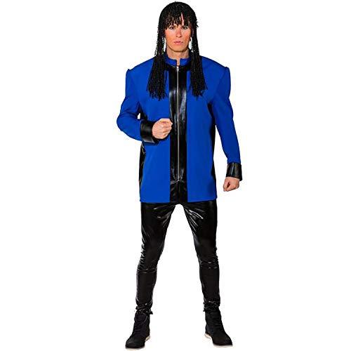 Unbekannt Herren Kostüm Musiker Jacke mit Schulterpolster Show-Kostüm 80er 90er Karneval (50/52, blau)