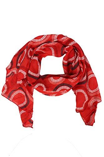 Zwillingsherz Seiden-Tuch Damen mit Muster - Made in Italy - Eleganter Sommer-schal für Frauen - Hochwertiges Seidentuch/Seidenschal - Halstuch und Chiffon-Stola Dezent Stilvoll - Rot