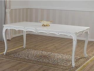 SIMONE GUARRACINO LUXURY DESIGN Table à Manger Nathalie Style Shabby Chic rectangulaire Blanc Vieilli 205 x 105 cm