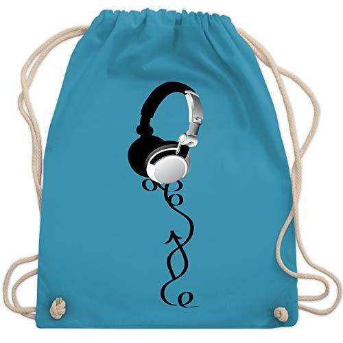 Shirtracer DJ - Discjockey - Kopfhörer - Unisize - Hellblau - kopfhörer stoffbeutel - WM110 - Turnbeutel und Stoffbeutel aus Baumwolle
