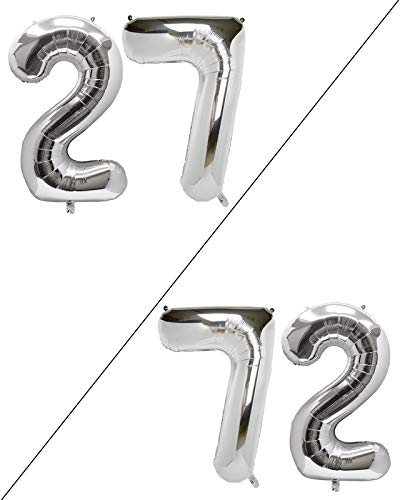 AULE 40 Inch Large 27 Balloon Numbers Silver, Big Foil Number Balloons, Giant Helium Happy 27th Birthday Party Decorations for Man and Women, Huge Mylar Anniversary Party Supplies