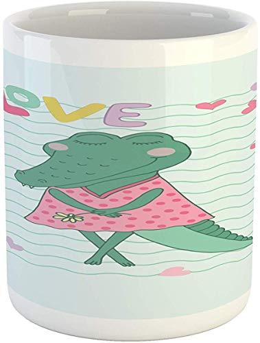 Koffie Mok 11 oz Thee Beker, Gator Mok, Cartoon Zoete Vrouwelijke Krokodil met Polka Gestippelde Jurk en Liefde Typografie Harten, Gedrukte Keramische Koffie Mok Water Thee Drankjes Beker, Multi kleuren