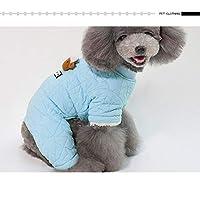 ペット用服 冬暖かい厚い羊の服 四脚ドッグコート 小さな犬の服 Blue XXL