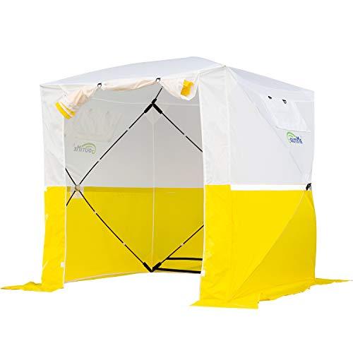 Goutime 2x2 Pavillon Multifunktionales Wasserdichtes pop-up-Zelt,Tragbarer Klappbarer Pavillon,Verwendet Für Camping/Angeln/Rettung usw,Weiß und Gelb