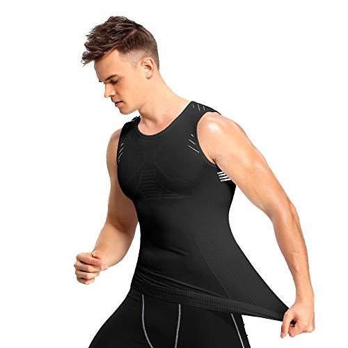 JEPOZRA Hombres Camiseta Tirantes Hombre Camiseta elástica para Abdomen Ropa Interior Reductora Chaleco Adelgazar para Hombre, Camisetas de Compresión
