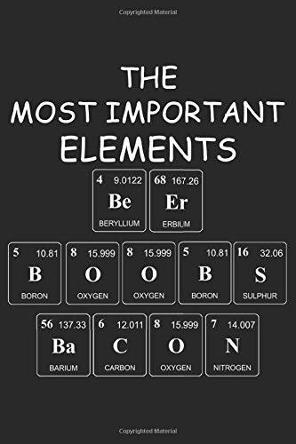 The Most Important Elements Beer Boobs Bacon: Die Wichtigsten Elemente. Notizbuch / Tagebuch / Heft mit Karierten Seiten. Notizheft mit Weißen Karo ... Planer für Termine oder To-Do-Liste.