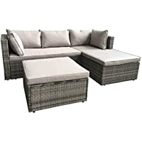 AmazonBasics Outdoor Patio Garden 3-pc Wicker Rattan Sectional Sofa Lounge Set with Cushions and Ottoman