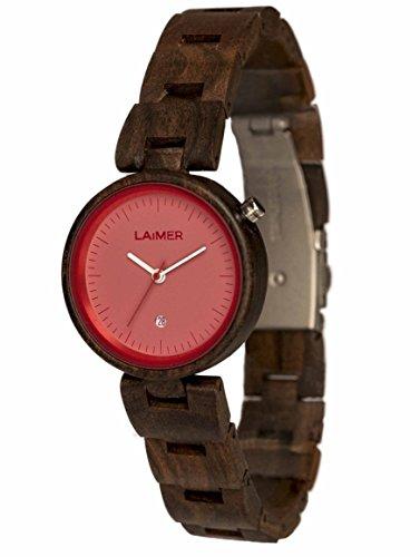 LAiMER Damen-Armbanduhr NICKY PINK Mod. 0054 aus Sandelholz - Analoge Quarzuhr mit braunem Holzarmband