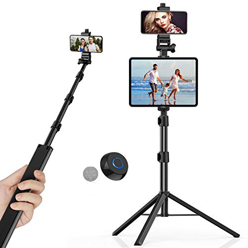 "Phone Tripod with 56"" Extendable, TECELKS Reinforced Aluminum Alloy Selfie Stick Tripod with Phone Hold, Bluetooth Remote Shutter, Tripod for Tablet/GoPro/Camera"