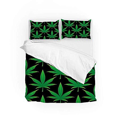 161 Soft Quilt Bedding Set Green Leaves Duvet Cover with 2 Pillowcases Set 3 PCS 200 x 200 CM, Double Size
