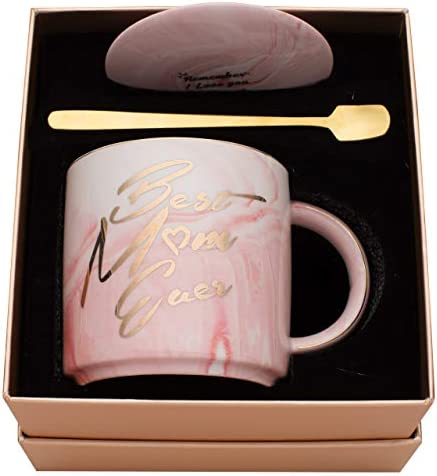 Luspan Moms Mug Gifts Best Gifts for Mom Best Mom Ever Pink Marble Ceramic Coffee Cup 11 5oz product image