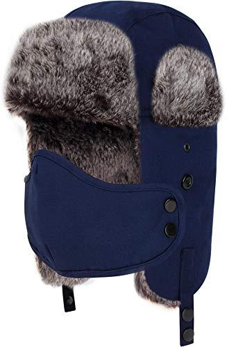 normani Unisex Wintermütze Tschapka Kunst-Fellmütze mit Ohrenklappen und Mundschutzmaske - Winddicht und wasserabweisend Farbe Navy Größe XXL/3XL