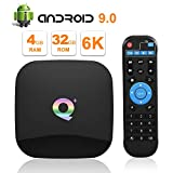 Sidiwen Android 9.0 TV Box Q Plus 4 GB RAM 32 GB ROM H6 Quad Core 64-Bit-CPU WiFi 2.4G Ethernet 100M USB 3.0 Smart Set-Top-Box-Unterstützung 6K Ultra HD H.265 HDMI 2.0 Internet Media Player
