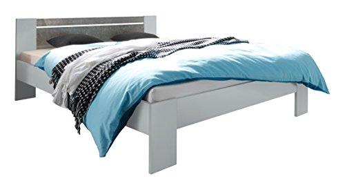 Avanti Trendstore - Bettgestell, ohne Lattenrost & Matratze, erhältlich, ca. 145x68x204 cm (Weiss/grau Beton-Dekor)