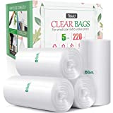 5 Gallon 220 Counts Strong Trash Bags Garbage Bags by Teivio, Bin Liners, for bathroom home office kitchen, 5.5 Gal, Clear