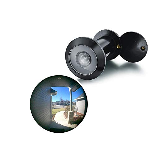 """TOGU TG3016YG-BC UL Listed Solid Brass HD Glass Lens 220-degree Door Viewer Peephole with Heavy Duty Privacy Cover for 1-3/8"""" to 2-1/6"""" Doors, Matt Black Finish"""
