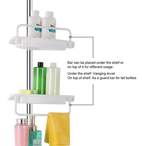 ALLZONE Constant Tension Corner Shower Caddy, Stainless Steel Pole, Rustproof, Strong and Sturdy, White, 4.5 to 9ft