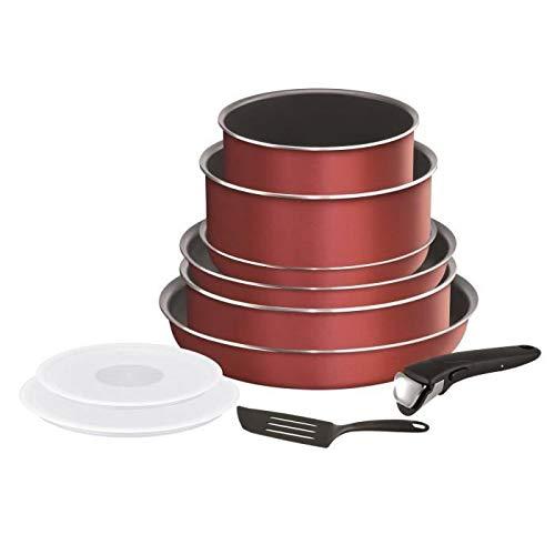 TEFAL L2369002 Juego de utensilios de cocina INGENIO ESSENTIAL de 10 piezas - Todas las placas excepto inducci�n - Fabricado en Francia - Rojo