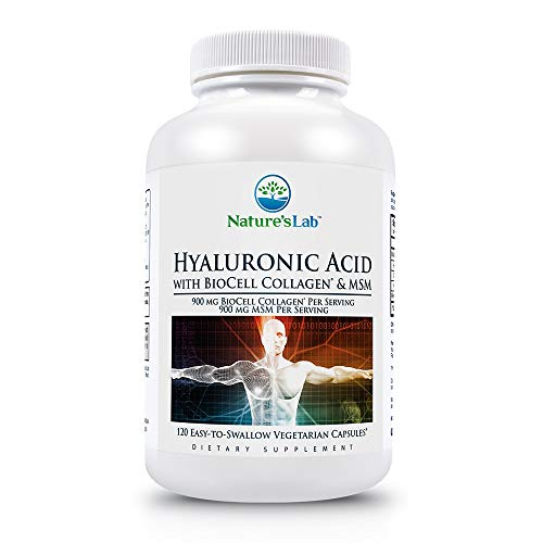 Hyaluronic Acid with Biocell Collagen and MSM - 120 Capsules (40 Day Supply) Skin Hydration, Joint Lubrication, UVB Protection, Methylsulfonylmethane