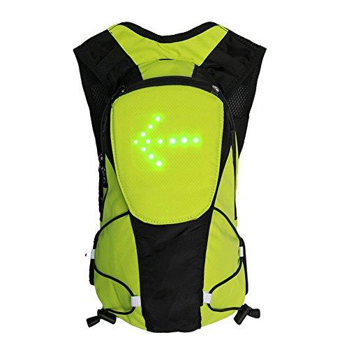 lennonsi Sac à dos de vélo avec indicateur de signal LED sans fil à télécommande sans fil Vert 2 l