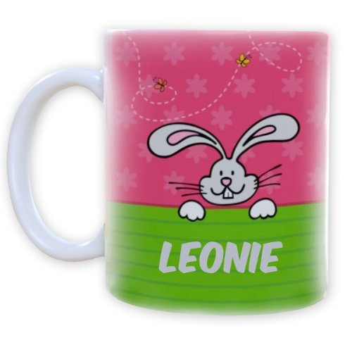 Striefchen® Tasse mit Osterhasen für Mädchen Name: Leonie