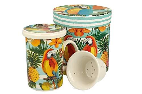 Duo Tropical Collection - Juego de tazas de té (320 ml, con colador de porcelana y tapa, porcelana china, en caja de regalo, 3 piezas, con colador, vaso con filtro