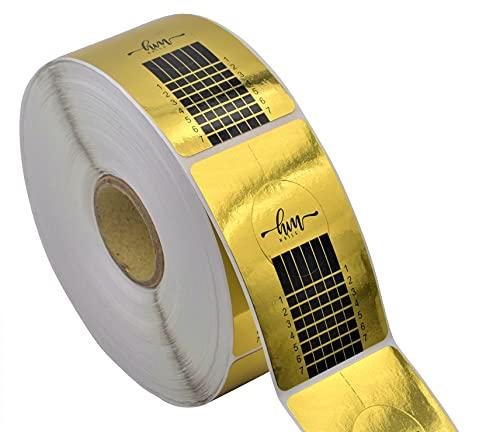 HM NAILS - 500 unidades de papel molde de guía para uñas Con ADHESIVO EXTREMO rollo de papel pegatina para extensión de uñas acrílicas, gel UV, extensión de uñas, Pegatinas molde