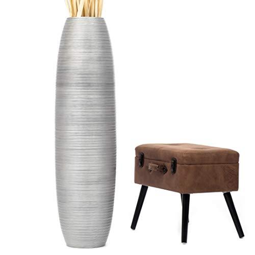 Leewadee jarrón Grande para el Suelo – Florero Alto y Hecho a Mano de Madera exótica, Recipiente de pie para Ramas Decorativas, 112 cm, Plateado